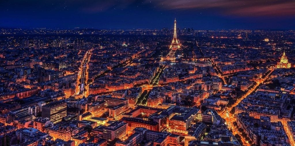Paris at night from above